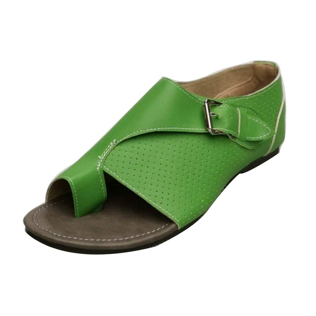 AIEason Women Sandals, Women Casual Buckle Ankle Strap Flat Heel Sandal Shoes Summer Beach Travel Shoes Green