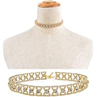 mbb Women Gold Choker Collar Bow Rhinestone Crystal Pendant Chain Necklace Jewelry F