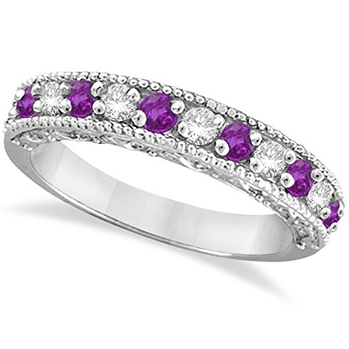 Diamond and Amethyst Band Filigree Design Ring 14k White Gold (0.60ct)