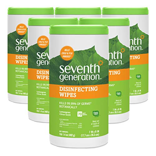 Generations Green - Seventh Generation Disinfecting Multi-Surface Wipes, Lemongrass Citrus, 70 count Tubs (Pack of 6)