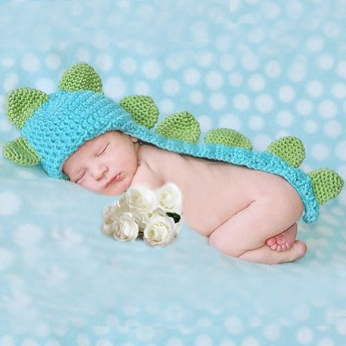 Cute Baby Infant Dinosaur Costume Crochet Knit Photo Prop 0-6 month Newborn