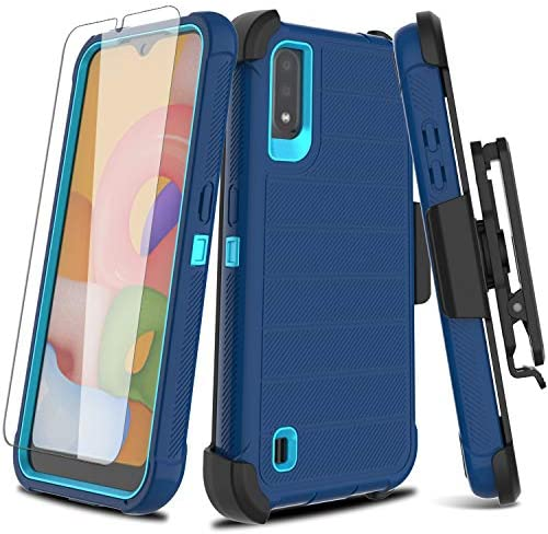 Leptech Galaxy A01 Case with Soft TPU Screen Protector, [Holster Series] Full Body Heavy Duty Armor Protective Phone Cover with Kickstand Belt Clip Case for Samsung Galaxy A01 (Navy)