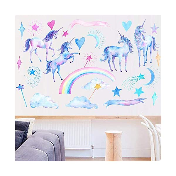 HAOLEJIA Beautiful Kids' Bedroom Unicorn Wall Sticker Decal,3D Art Decal Sticker for Child Room Wall Decoration 7