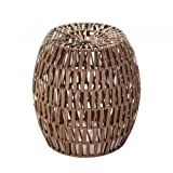 Lana45 Ideal Decor Faux Woven Rattan Stool Garden Furniture Patio Home Accent Metal Frame Brown Indoors Outdoors Seat