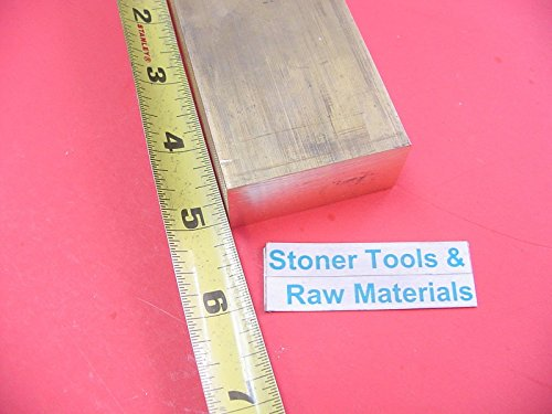 1'' x 2'' C360 BRASS FLAT BAR 5'' long Solid 1.00'' Plate Mill Stock H02 by Stoner Metals