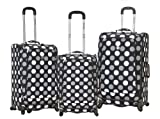 Rockland F180 Fusion Luggage Set, Black Dot, Medium, 3-Piece