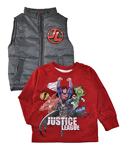 Batman vs Superman. Little Boys Long Sleeve Top & Vest Set, Avengers Gray 3T