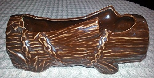 """Vintage 7"""" McCoy Brown Log Planter w Luster Finish"""