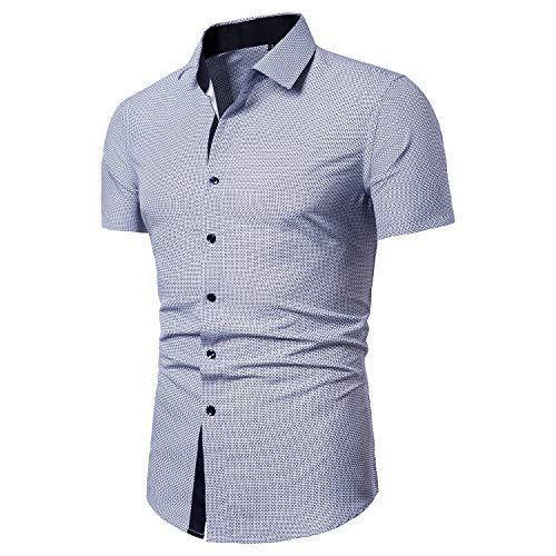 Localmode Mens Printed Dress Shirts Business Casual Regular Fit Short Sleeve Button Down Shirts