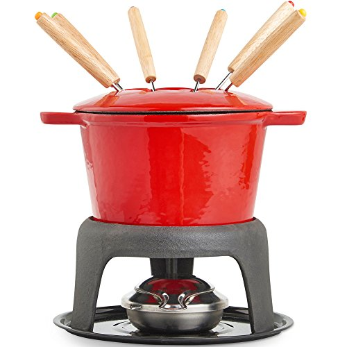Fun Fondue Set - VonShef Fondue Set with 6 Forks Stylish Cast Iron Porcelain Enamel Pot Makes All Styles of Fondue Such as Cheese and Chocolate 63 fl oz Capacity 12pc Set Red
