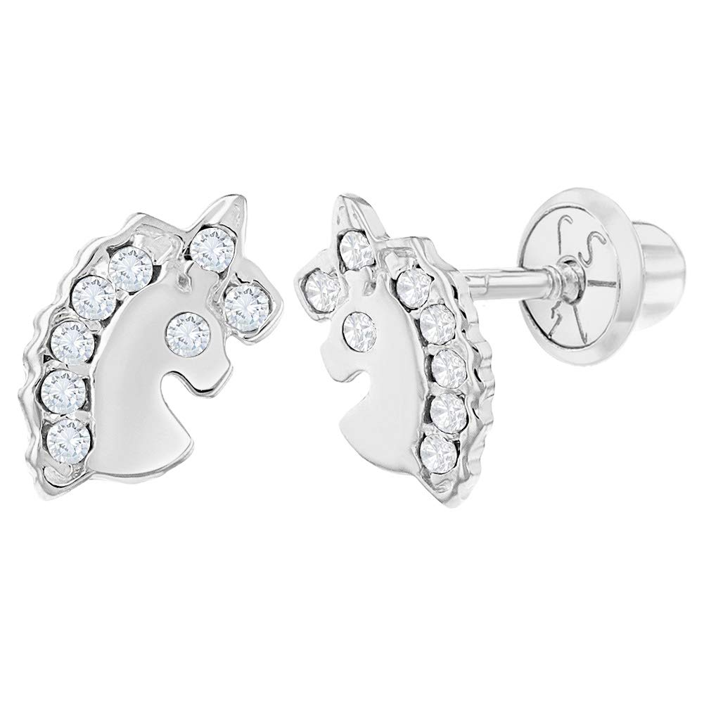 14k White Gold Unicorn Earrings Clear CZ Screw Back for Toddlers or Girls