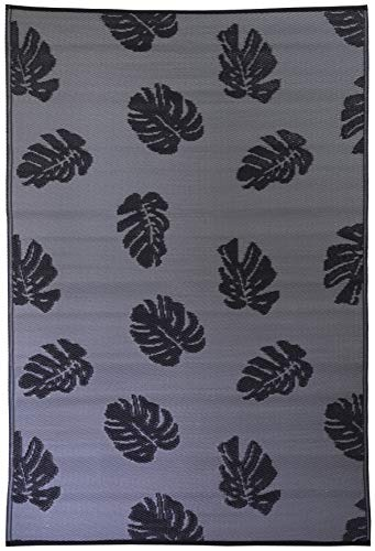 - FH Home Indoor/ Outdoor Rug | Crafted from Premium Recycled Plastic Straws | Durable and Reversible, Weather Resistant Mat | FH13 - Black/Grey - 4 ft x 6 ft