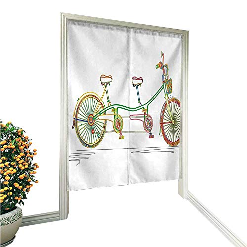 QianHe Noren Style Doorway Curtain Tandem Bicycle Design on White Background Pattern Clipart Style Print Multicolor Doorway Curtain Tapestry Modern 33.5