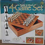 : Pewter & Wood 4 Game Set - Checkers, Chess, Backgammon & Tic Tac Toe