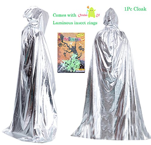 October Elf Adult Kids Halloween Hooded Cloak Costumes Role Play 5.3feet (Silver) ()
