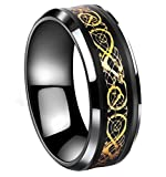 Tanyoyo Black Celtic Dragon Titanium steel Carbide Ring Gold Carbon Fibre Wedding Band Jewelry Size 5-14 (9)