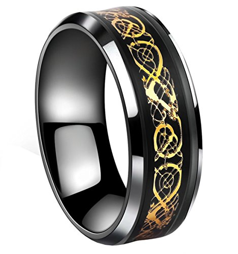 Tanyoyo Black Celtic Dragon Titanium steel Carbide Ring Gold Carbon Fibre Wedding Band Jewelry Size 5-14 - Size Men 5