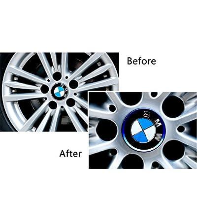 Duoles 4 Pieces Alloy Car Wheel Rim Center Cap Hub Rings Decoration for Audi A3 A4 A5 Q3 Q5 Q7 TT Quattro, BMW X1 X3 X5 1 3 5 6 7 Series (Blue): Automotive