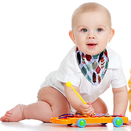 Baby Bandana Drool Bibs,6-pack Organic Cotton Soft Absorbent for boys girls by MONEIL (Image #6)