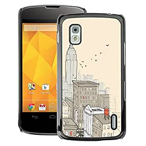 A-type Arte & diseño plástico duro Fundas Cover Cubre Hard Case Cover para LG Nexus 4 E960 (City New York Painting Empire Building)