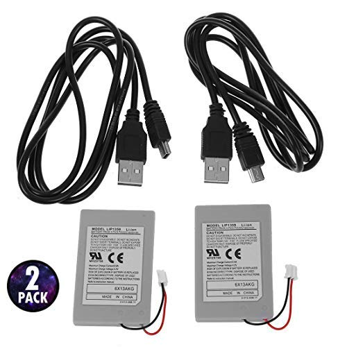 (G-Dreamer 2 Pack Replacement Battery Pack For SONY PS3 Controller + USB Charger Cable)
