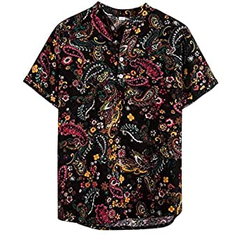 ♛2019 Clearance Sale♛ - Chamery Summer Shirt for MenMens Ethnic Short Sleeve Casual Cotton Linen Printing Hawaiian Shirt Blouse(Multicolor,L)