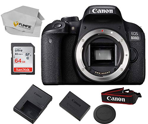Canon EOS 800D (Rebel T7i) Body Only Includes Free SanDisk Ultra 64GB SDHC Class 10 Card (Lens Not Included)