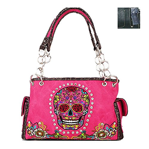 Rhinestone Embroidered Sugar Skull Concealed Carry Women's Handbag in 7 Colors (Hot Pink) (Skull Cross Pink Flowers)