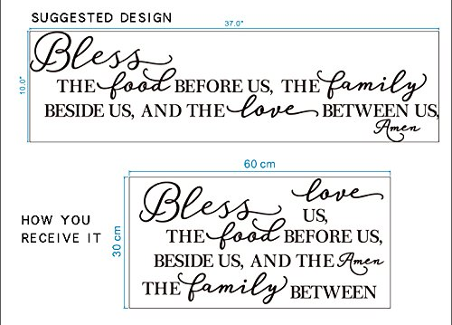 BOLLEPO Kitchen Wall Stickers Home Decor, Dining & Cooking Quote Decal Heart Removable Vinyl Art Decoration (Bless The Food Before Us, The Family Beside Us, and The Love Between Us, Amen) by BOLLEPO (Image #4)