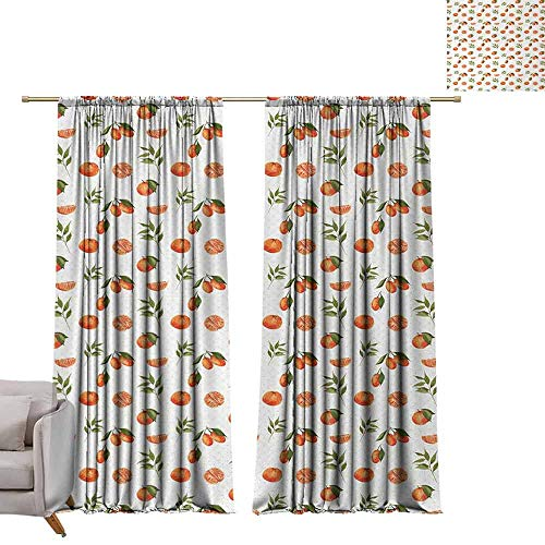 Thermal Insulated Drapes for Bedroom Burnt Orange Watercolor Orange and Tangerine Fruits with Leaves on Polka Dots Privacy Protection W108 xL72 Burnt Orange Fern Green