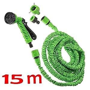 JZK® 15m 50ft, verde manguera expandible con 7 in 1 pistola de pulverización y conector para lavado de coches, jardín, animales de lavado, etc