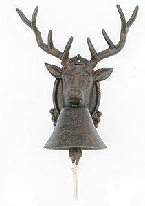 Upper Deck Cast Iron Deer Dinner Bell for Yard Art Wall Hanging Garden