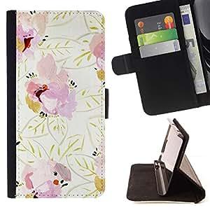 For HTC DESIRE 816 Case , Patrón Oro Rosa floral beige- la tarjeta de Crédito Slots PU Funda de cuero Monedero caso cubierta de piel