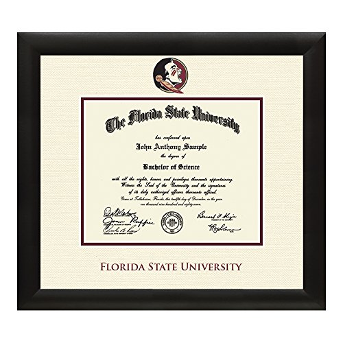 Florida State University Diploma Frame – Textured Ivory & Maroon Matting with Official FSU Logo – 11