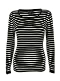 Style & Co. Women's Long Sleeve Ribbed Striped Sweater (PXL, Deep Black/White)