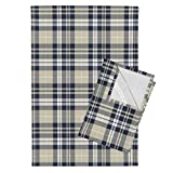 Roostery Rustic Woods Tea Towels Woodland Plaid Navy Tan Beige Littlearrow by Littlearrowdesign Set of 2 Linen Cotton Tea Towels