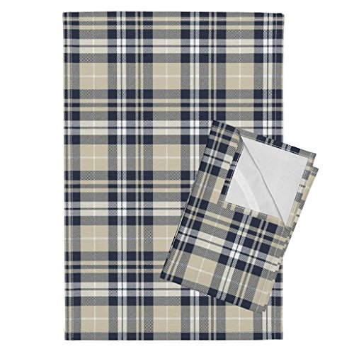 Roostery Rustic Woods Tea Towels Woodland Plaid Navy Tan Beige Littlearrow by Littlearrowdesign Set of 2 Linen Cotton Tea Towels by Roostery (Image #1)