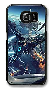 VUTTOO Rugged Samsung Galaxy S6 Edge Case, Fantasy Spaceship Floating City PC Case Cover for Samsung Galaxy S6 Edge Black
