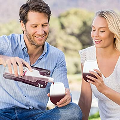 Foldable Flexible Wine Bottle by VinoVivo - Collapsible & Unbreakable Red or White Wine 750ml Flask
