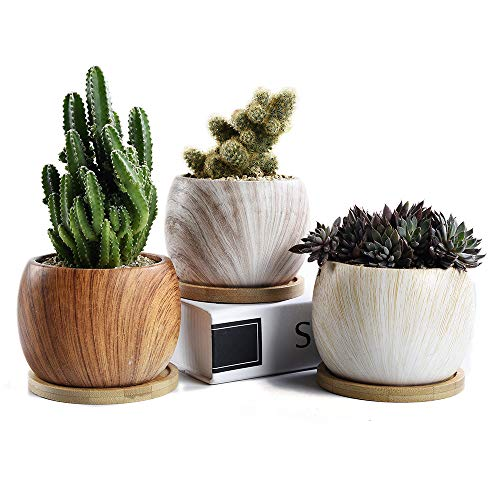 SUN-E Round Wooden Grain Serial Ceramic Succulent Pots Cactus Planter Flower Pot Container with Bamboo Tray&Drainage Idea 3 in Set(3.54 Inch)