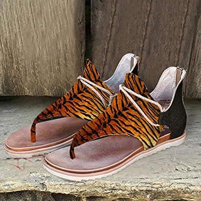 Sandals for Women Flat, Comfy Sandals Ladies Fashion Leopard/Zebra/Snake Pattern Flat Heel Slip On Sandals with Zipper: Clothing