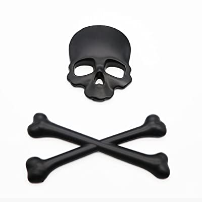 3D Skull Metal Skeleton Crossbones Car Motorcle Sticker Label Skull Emblem Badge Car Styling Stickers Accessories: Automotive