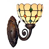 Bieye Tiffany Style Stained Glass Jewels Wall Sconces with 7 inches Handmade Shade (Multi-colored Jewels Single Uplight)