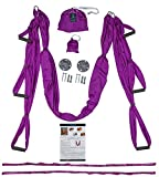 Blue Crescent Yoga Aerial Yoga Trapeze Swing - Anti-Gravity Home/Indoor/Outdoor Silk Hammock - Sling Inversion Tool - Extension Straps, Hardware INCLUDED for Concrete and Wood