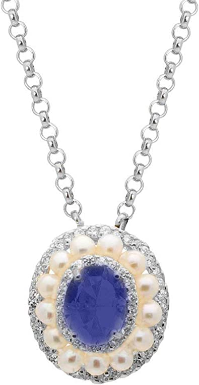 Hot Item Simulated Blue Sapphire /& Cubic Zirconia .925 Sterling Silver Pendant