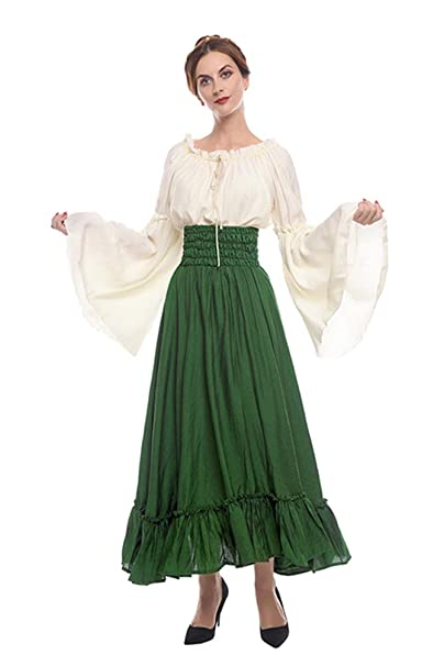 NSPSTT Womens Renaissance Medieval Costume Gypsy Long Sleeve Dress Top and Skirt