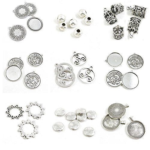 Aquarius Dots - 41 Pieces Antique Silver Tone Jewelry Making Charms Round Cabochon Blanks 30MM Heart Loose Beads Dots Ring Aquarius Base Age-Old Tag Taurus Merry-go-Round Ball Blank 25mm