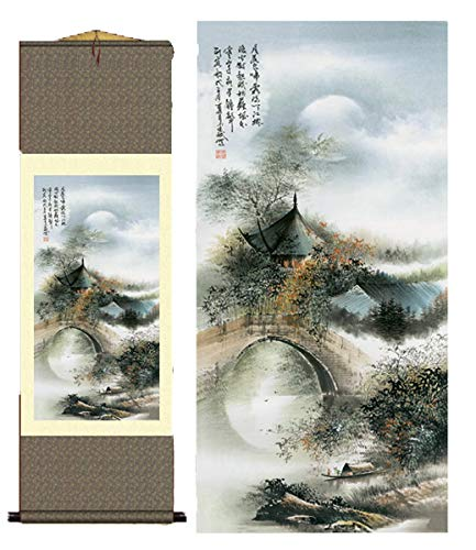 Grace Art Asian Wall Scroll, Waterside Village