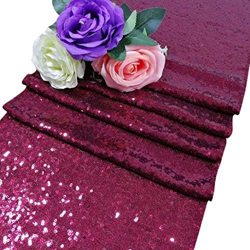 ShinyBeauty Sequin Table Runners 108 inches Burgundy Bridal Shower Decorations Burgundy Table Runners Pack of 1 12 by 108 in Wedding Burgundy Glitz Sequins ~M1217 -