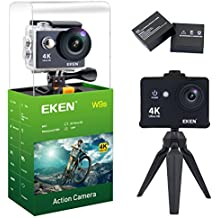 EKEN W9s Action Camera Full HD Wi-Fi Waterproof Sports Camera with 4K 10fps 1080P 30fps 720P 30fps Video 12 MP Photo and 140 Wide Angle Lens Includes 11 Mountings Kit, 2 Batteries, Black